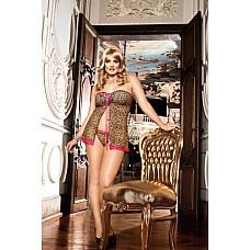 Animal Мини-платье Q (50-52), леопард  В этом открытом спереди леопардовом бебидолле без бретелей перед вами никто не сможет устоять.
