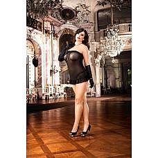 Devil Мини-платье D (52-54), черный  Это прекрасное маленькое платье черного цвета с особенно соблазнительным декольте очень удобно в носке благодаря очень тонкому материалу в сеточку.