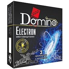 Презервативы Domino Electron №3  DOMINO-это универсальный презерватив, обладающий такими качествами, как высокая эластичность, прочность и максимальная безопасность при использовании.