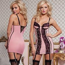 Обтягивающее нежно-розовое платьице STM-9740PNKL  Сексапильное короткое платьице нежно-розового цвета с лифом на косточках, отделанное изящными кружевами спереди.