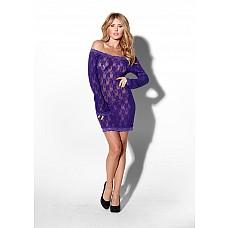 Пеньюар DIVINE DIVA PURPLE L XL 06931-20-52  Фиолетовое полупрозрачное кружевное платье-пеньюар с длинным рукавом  L- XL.