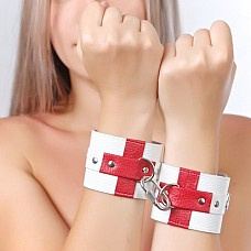 """Наручники кожаные """"медсестра"""" 3060-3  БДСМ-игрушка № наручники 3060-3 производит фантастическое воздействие на партнеров при занятии сексом."""