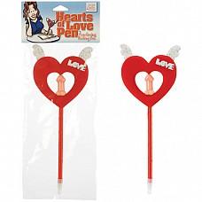 Ручка с декоративным красным сердцем 2462-00 CD SE  Шариковая ручка, украшенная большим декоративным сердцем с белыми крылышками.