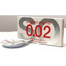 Презервативы Sagami Original 0.02 (2 шт.)  С презервативами Sagami Original секс станет удивительным. Потому как не удивляться тому, насколько неощутимы эти кондомы при использовании, просто невозможно! <br><br> Толщина презервативов составляет всего 0,02 мм. Вот почему с ними близость не только защищённая, но и чувственная!