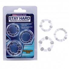 Набор прозрачных стимулирующих колец Stay Hard  Набор из трех прозрачных эрекционных колец, разных по толщине и диаметру. <br><br>Возможны варианты использования, как на фото: одновременно, так и по одному.