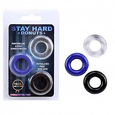 Набор разноцветных стимулирующих колец Stay Hard  Набор из трех разноцветных эрекционных колец, разных по толщине и диаметру. <br><br>Возможны варианты использования, как на фото: одновременно, так и по одному.