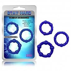 Набор синих стимулирующих колец Stay Hard  Набор из трех синих эрекционных колец, разных по толщине и диаметру. <br><br>Возможны варианты использования, как на фото: одновременно, так и по одному.