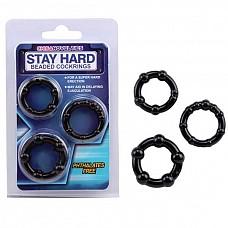 Набор черных стимулирующих колец Stay Hard  Набор из трех черных эрекционных колец, разных по толщине и диаметру. <br><br>Возможны варианты использования, как на фото: одновременно, так и по одному.