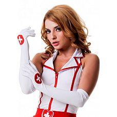 """Перчатки медсестры  02849OS  """"Белые перчатки медсестры с рисунком медецинского креста."""