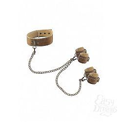 Shotsmedia Кожаный ошейник с наручниками OUCH! BROWN SH-OU167BRN