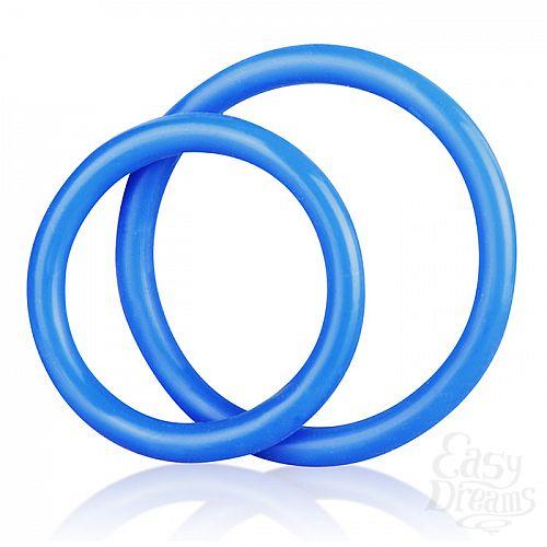 Фотография 2  Набор из двух голубых силиконовых колец разного диаметра SILICONE COCK RING SET