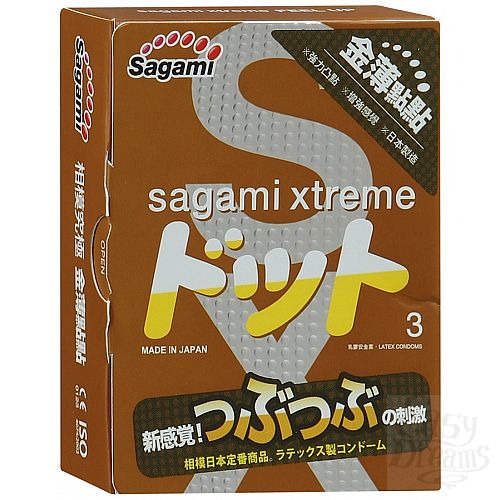 Фотография 1:  Презервативы Sagami Xtreme FEEL UP с точечной текстурой и линиями прилегания - 3 шт.