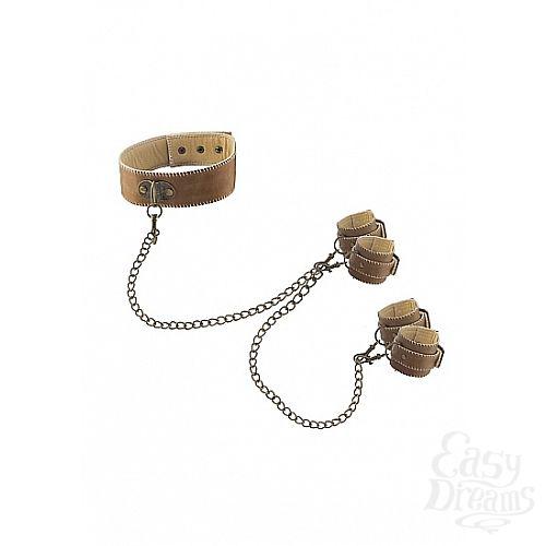 Фотография 1: Shotsmedia Кожаный ошейник с наручниками OUCH! BROWN SH-OU167BRN