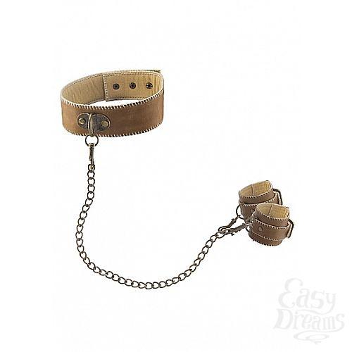 Фотография 1: Shotsmedia Ошейник с наручниками OUCH! Brown SH-OU169BRN