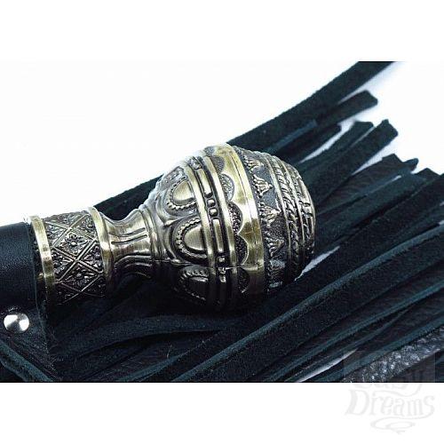 Фотография 2  Чёрная многохвостая плеть с кованой рукоятью - 40 см.