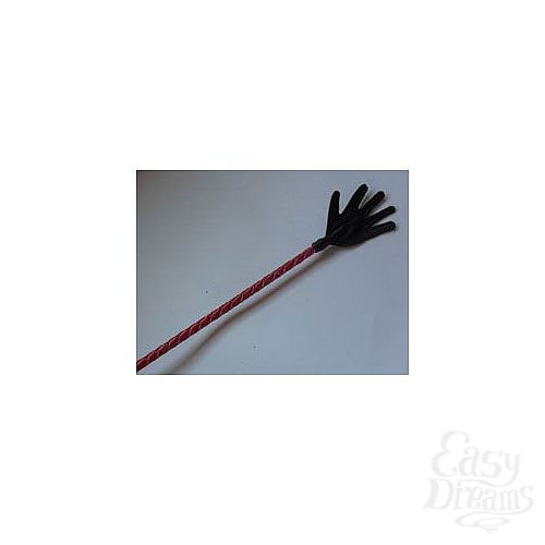 Фотография 1:  Короткий красный плетеный стек с наконечником-ладошкой - 70 см.