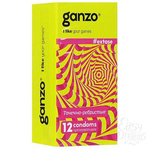 Фотография 1:  Презервативы анатомической формы с точечной и ребристой структурой Ganzo Extase - 12 шт.