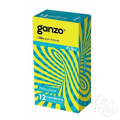 Фотография 1:  Презервативы с ребристой структурой Ganzo Ribs - 12 шт.
