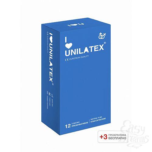 Фотография 1: Unilatex Презервативы Unilatex Natural Plain 12 шт +3 шт в подарок 3013Un