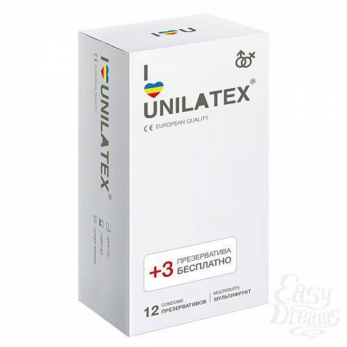 Фотография 1:  Разноцветные ароматизированные Unilatex Multifruit  - 12 шт. + 3 шт. в подарок