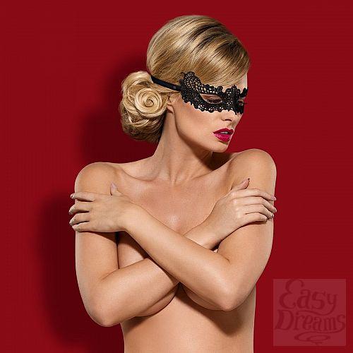 Фотография 1:  Чёрная ажурная маска на глаза