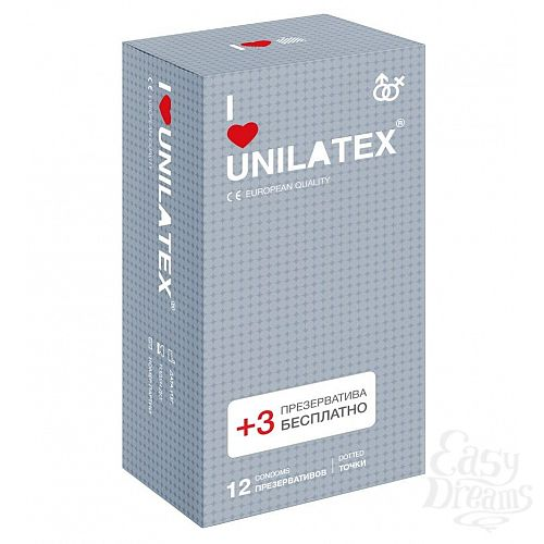 Фотография 1:  Презервативы с точками Unilatex Dotted - 12 шт. + 3 шт. в подарок
