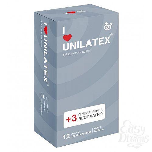 Фотография 1:  Презервативы с рёбрами Unilatex Ribbed - 12 шт. + 3 шт. в подарок