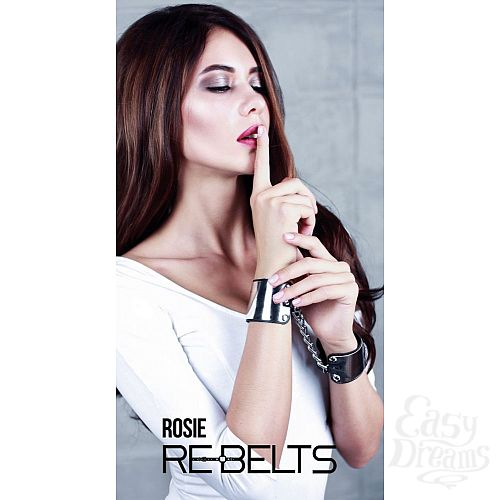 Фотография 1:  Черные наручники с зеркальным элементом Rosie Black