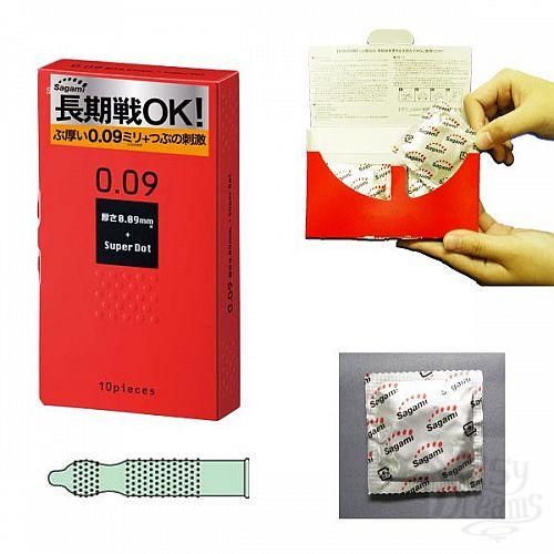 Фотография 2  Презервативы Sagami Dots с точками - 10 шт.