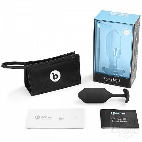 Фотография 4  Чёрная пробка для ношения B-vibe Snug Plug 3 - 12,7 см.