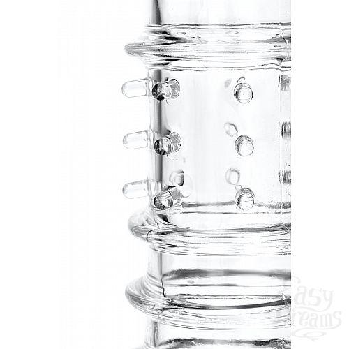 Фотография 6  Прозрачная насадка на пенис TOYFA A-Toys с ребрами и точками - 15,3 см.