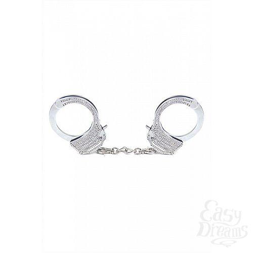 Фотография 2  Серебристые наручники Romfun из металла со стразами