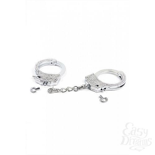 Фотография 3  Серебристые наручники Romfun из металла со стразами