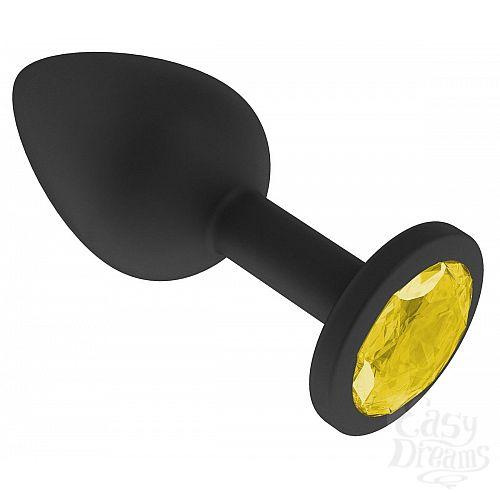 Фотография 2  Чёрная анальная втулка с жёлтым кристаллом - 7,3 см.