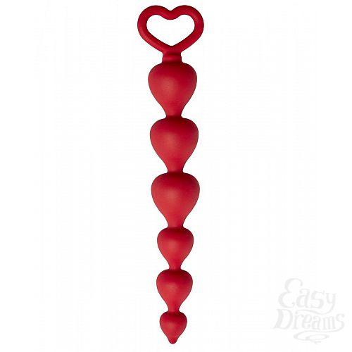 Фотография 1:  Бордовая анальная цепочка Heart Ray - 17,5 см.