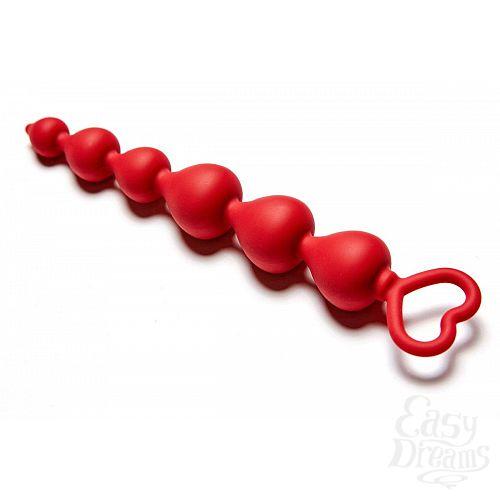 Фотография 2  Бордовая анальная цепочка Heart Ray - 17,5 см.