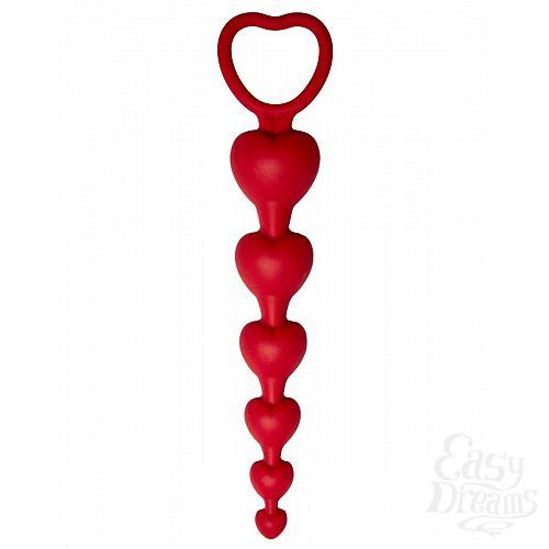 Фотография 1:  Бордовая анальная цепочка Love Beam - 19 см.