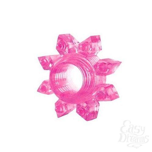 Фотография 1:  Розовое эрекционное кольцо Cockring star