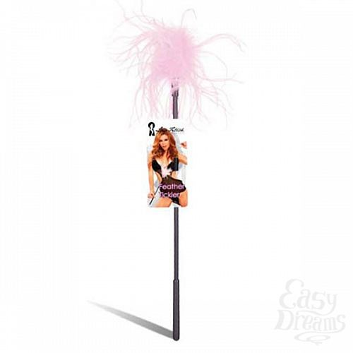 Фотография 1:  Ласкающая палочка с перьями розового цвета