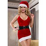 Новогоднее платье с имитацией пояса и головным убором  Новогоднее платье с глубоким декольте.