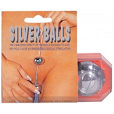 Посеребренные вагинальные шарики  Вагинальные шарики со смещенным центром тяжести, посеребренные, крепко связаны между собой. Среднего Размера, диаметр 3,5 см. Упакованы в отдельную пластмассовую коробочку.