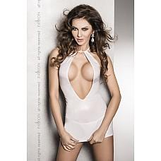 Страстное белое платье с глубоким декольте, открытой спиной и трусики  FEMI white L/XL 10756PAS  Страстное белое платье с глубоким декольте,открытой спиной.