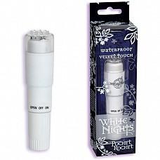 Маленький стимулятор WHITE NIGHTS 0949-03 BX DJ  Компактный вибростимулятор для сосков, клитора и других эрогенных зон из белого пластика с покрытием Velvet Touch.