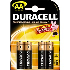 Батарейки AA Duracel New LR6 4 шт  Пальчиковые батарейки типа АА DURACELL алкалиновые.