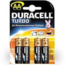 Батарейки AA Duracel Turbo LR6 4 шт  Пальчиковые батарейки типа АА DURACELL алкалиновые.