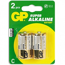 Батарейки C GP LR14 2 шт  Батарейки-бочонки типа C GP алкалиновые.