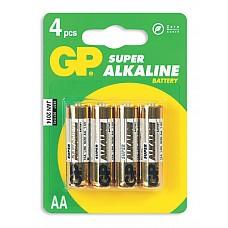Батарейки AA GP LR6 4 шт  Пальчиковые батарейки типа АА GP алкалиновые.