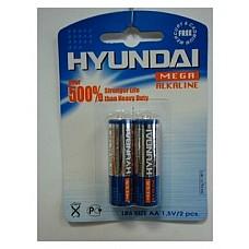 Батарейки AA Hyundai LR6 2 шт  Пальчиковые батарейки типа АА Hyundai алкалиновые.