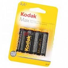 Батарейки AA Kodak Max LR6 4 шт  Пальчиковые батарейки типа АА Kodak, алкалиновые.