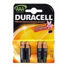Батарейки AAА Duracel New LR03 4 шт  Мизиньчиковые батарейки типа ААА DURACELL алкалиновые.